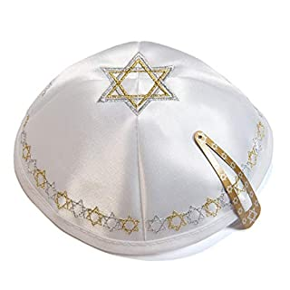 Anandashop Satin 20 cm Weiß Magen Stern David Kippah jüdische Kipa Synagoge