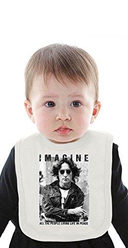 Imagine All The People Living Life In Peace John Lennon Organic Baby Bib With Ties Medium Rock Roll Baby Onesies