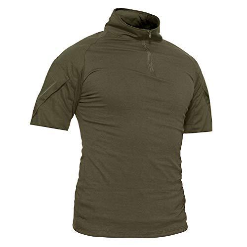 TACVASEN Herren-T-Shirt für den Sommer, Militär mit Rapid-Assault-Ärmeln, Herren, Army Green-Short, Medium -