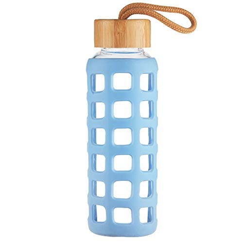 Cleesmil Sport Trinkflasche Glas Wasserflasche mit Silikonhülle mit Bambus Deckel 1000 ml (Blau)