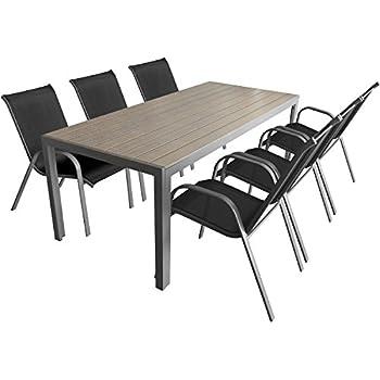 7-teiliges Gartenmöbel Set Aluminium Polywood Gartentisch 205x90cm + ...