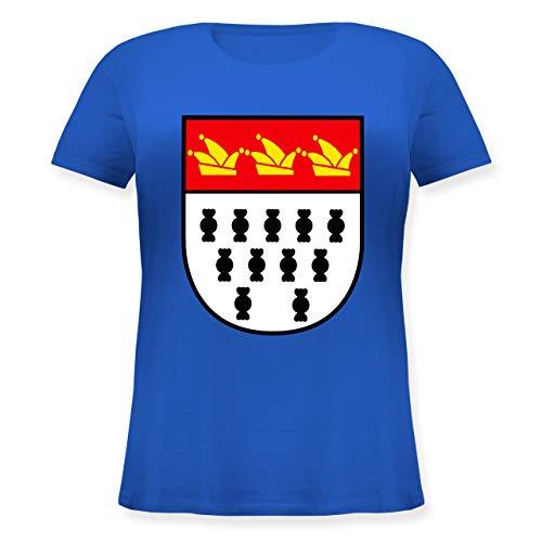 Karneval & Fasching - Karneval Köln Wappen - S (44) - Blau - JHK601 - Lockeres Damen-Shirt in großen Größen mit ()