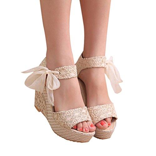 Sandalias y Chancletas de Tacón Alto Plataforma para Mujer, QinMM Playa Zapatos de Verano (39, Blanco)