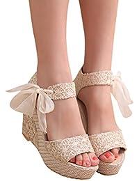 QinMM Sandalias y Chancletas de Tacón Alto Plataforma Para Mujer, Playa Zapatos de Verano