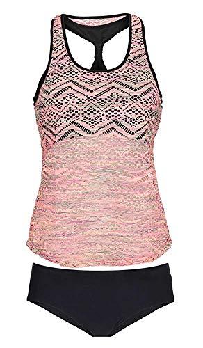 Gotimal Damen Tankini Set Zweiteiler Netzartiger Badeanzug Bademode Strandmode Racerback Mesh Bikini Top mit Gepolstert Pink 2XL -