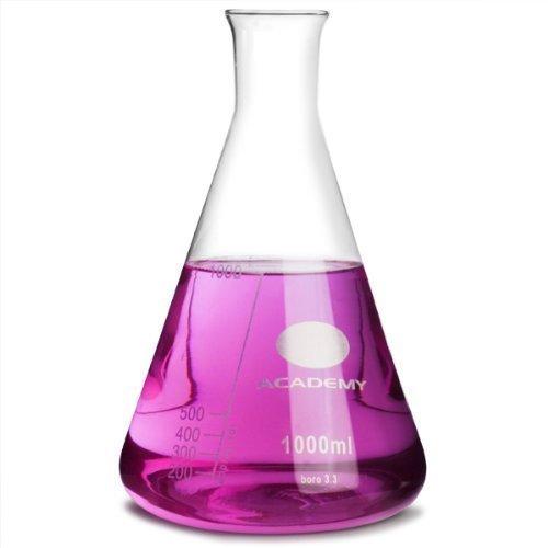Academy Glas Konischer Flasche 1000ml Measuring Flasche, Molekulare Flasche, Erlenmeyer Flasche, Chemie Flasche (Konische Flasche)