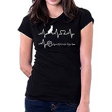Tshirt Elettrocardiogramma Pastore Belga - I Love Pastore Belga - Cani - Dog - Love - Humor - Tshirt Simpatiche e Divertenti