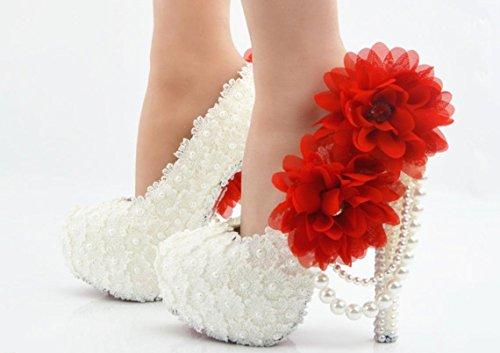 XDGG scarpe da sposa Large Size Ultra High con il vestito da sposa rotonda scarpe da damigella d'onore del locale notturno Lace Bianco Fiore Rosso red8