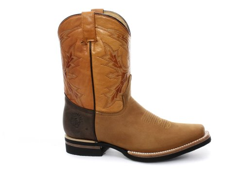 Grinders El Paso Homme Western Cowboy Bottes, Beige Crazy Horse Miel Obsc
