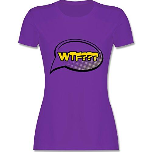 Comic Shirts - WTF - What the fuck Sprechblase - tailliertes Premium T-Shirt mit Rundhalsausschnitt für Damen Lila