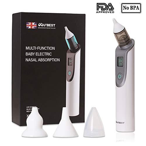 Minetom Baby Nasensauger Elektrischer Nasal Aspirator USB Aufladen Nasenreiniger mit LCD Licht 3 Betriebsstufen und 3 Größen Silikonspitzen Nasensauger für Neugeborene und Kleinkinder