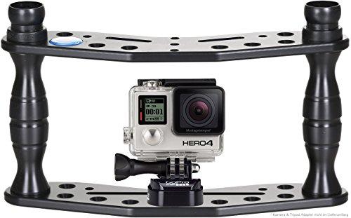Action Cam Stick Rig Hydronalin Tauchstativ GoPro Halterung : stabile Aufnahmen : Kameraschiene für HERO5 Apeman SJCAM, Schwarz, 2 x FlexBase