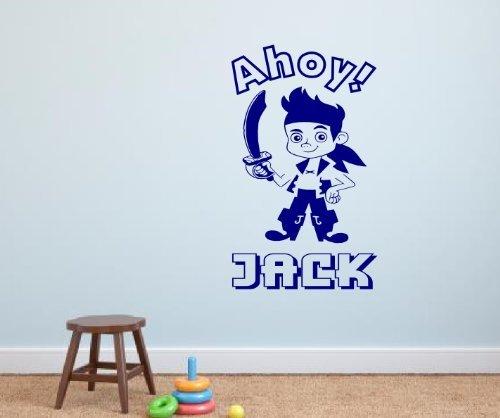 (Personalisiert Jake Und Die Nimmerland Piraten Vinyl Wandkunstaufkleber - 4 größen & 16 farben - jake1 - Xl 100 X 60 cm)