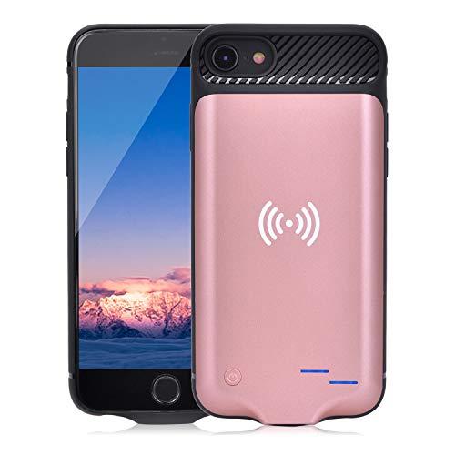 Qi Akku Hülle für iPhone 6 6S 7 8, 3800mAh Tragbare Drahtlos Ladebatterie Zusatzakku Externe Handyhülle Batterie Wiederaufladbare Schutzhülle Power Bank Akku Case für iPhone 8/7/6S/6 (Rotgold)