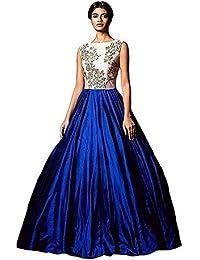 Rudra Fashion Women's Bhagalpuri Silk Blue & White Semi - Stitched Floor Length Dress
