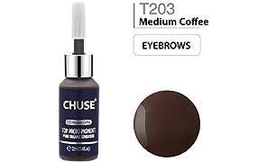 CHUSE T203 Café medio Color cosmético de la tinta permanente del tatuaje del maquillaje del micro pigmento microblading Aprobó SGS, DermaTest 12ml (0.4fl.oz)