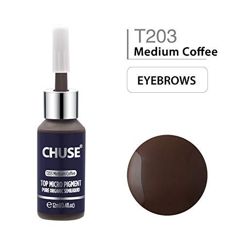 CHUSE T203 Café moyen Couleur cosmétique permanente d'encre de tatouage de maquillage de micro-colorant de Microblading SGS passé, DermaTest 12ml (0.4fl.oz)