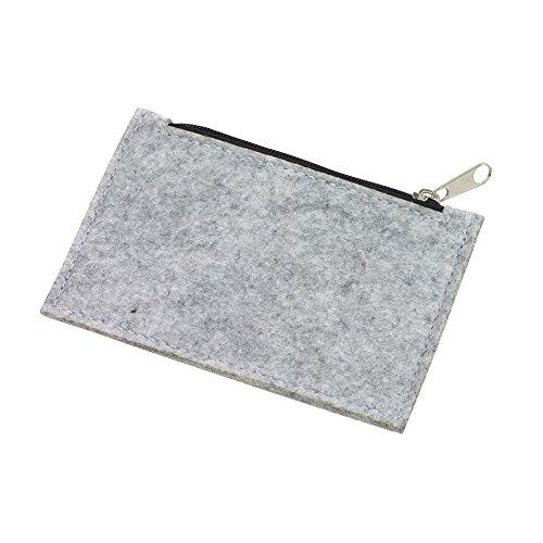 Filz - Börse - Banktasche mit Reißverschluss (Grau) -