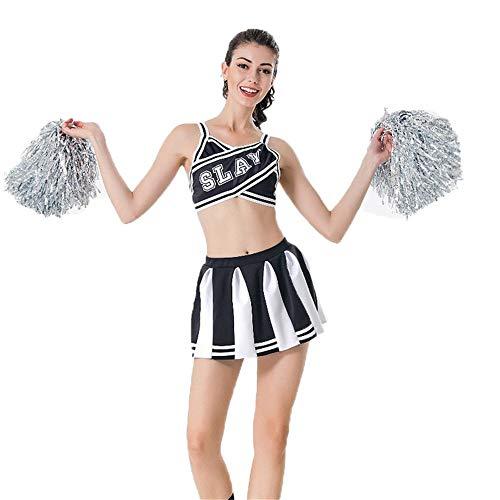 er-Kostüm,Mädchen Cheerleading Uniform Rock Sling Tops Fußball Basketball High School Musik Sport Wettbewerb Dance Performance,Schwarz,XL ()