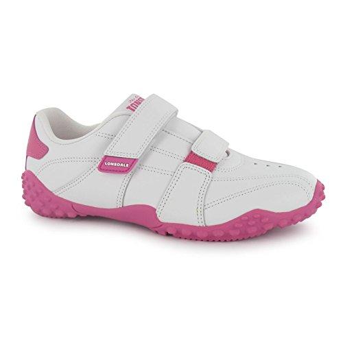 Lonsdale Kinder Fulham Turnschuhe Sport Gepolstert Sneaker Leder Schuhe Weiß/Rosa