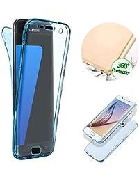Klar TPU Hülle für Galaxy A6 2018,Silikon Hülle für Galaxy A6 2018,Moiky Stilvoll Einzigartig Ultra Dünn 360 Grad Vorder und Rückseiten Blau Durchsichtig Ganzkörper Koffer Schutzhülle