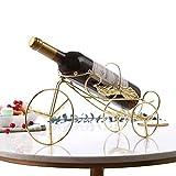 MOCHENG - Portabottiglie Singolo per Bottiglie di Vino, in Stile Vintage, con Design a Forma di Bicicletta, per Soggiorno, Cucina, casa, mensola in Ferro da Tavolo, Colore: Bronzo