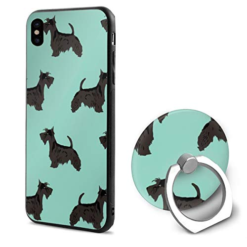 iPhone XR Ring bracket Case Scottie Dog Cute Scottish Terrier Mint Scottish Terrier For Scottie Owners TPU Bumper Protective Case for Apple iPhone XR 6.1 Inch 2018 Release Crystal Lace Design Scottish Lace