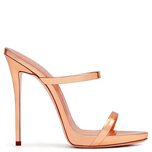 XLY Frauen Sexy Metallic Open Toe Doppel Riemen Heels Mules High Heels Slingback Slide Sandalen,Champagne,43 Heel Mule