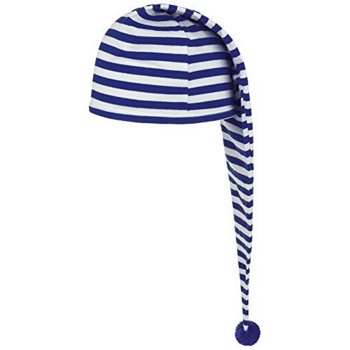 Blaue Mütze Kostüm - Lipodo Schlafmütze blau weiß gestreift (56 cm lang) - Damen und Herren - Nachthaube aus Baumwolle - Bommelmütze One Size (53-60 cm) - Nachtmütze mit Bommel - Zipfelmütze zum Schlafen für die Nacht