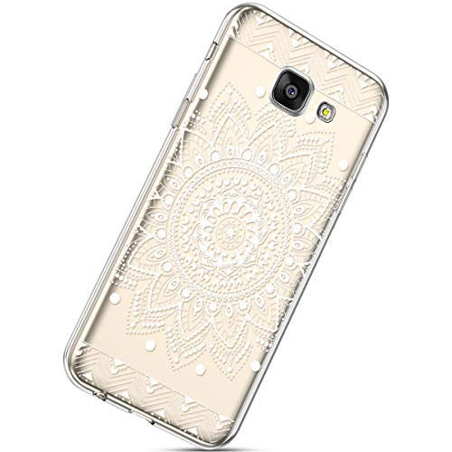 Handyhülle Kompatibel mit Galaxy A7 2017 Durchsichtig Silikon Schutzhülle Kratzfeste Kristall Transparent Silikonhülle Crystal Clear TPU Bumper Case TPU Cover Weich Hülle,Weiße Blume