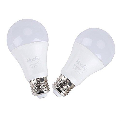 Dusk to Dawn Glühbirne, EECOO 7W Smart Sensor LED Lampen E26/E27 Automatisch An/Aus, Innen-/Außen Hof Veranda Patio Garage Garten (warmweiß, 2-Pack)