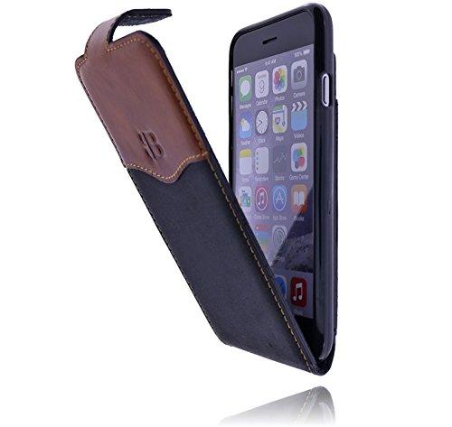 Burkley Apple iPhone 8 / iPhone 7 Hülle | Tasche | Lederhülle | Handyhülle | Ledertasche | Handytasche | Schutzhülle | Flip Cover | Case mit bruchfester Innenschale und Kartenfach (Schwarz-Tabba)