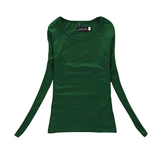 Yalatan Korean Fashion All-match Long Sleeved T-shirt Female Solid Grounding Ladies T-shirt Bottoming Shirt Grigio