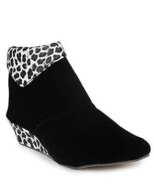 Rgk's Women's Black Velvet Long Shoes/Boot for Girls