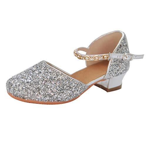 Mädchen Tanzschuhe/Dorical Prinzessin Schuhe Kinder Strass Latein Ballroom Tango Glitter Schuhe mit Weiche Sohlen Standard & Latein,Mode Party Sandalen 24-32(Silber,25 ()