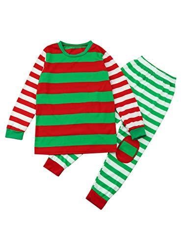 BESBOMIG Familie Kleidung Set Weihnachten passende Pyjama - Eltern-Kind-Outfit  Langarm T-Shirt Papa Mama und Sohn Tochter Pyjamas , rot/gruen/weiss, 90CM