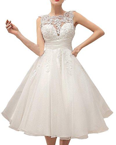 Carnivalprom Damen Rundhals Hochzeitskleider Teelänge Brautkleid mit Applikation Weiß
