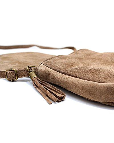 ImiLoa Ledertasche klein schwarz braun blau grau Lederhandtasche Umhängetasche echt Leder Tasche Wildleder Handtasche Taupe Braun