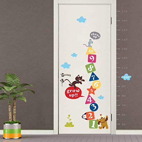 Xzfddn Cartoon Zahlen Aufwachsen Höhe Maß Wandaufkleber Für Kinderzimmer Pvc Wachstum Chart Abziehbild Cartoon Wandbild Kunst Wand Poster