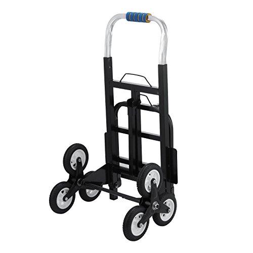 Chrisun 150kg Chariot D'escalier Avec Trois Roues ChariotTransport EscalierChariot à Main Pliable Industriel Diable Pliable Acier Triple Roues (150kg)