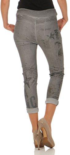 malito Damen Jeans mit Muster | Hose mit Strass | Stretch Jeans im Denim Look | Joggjeans