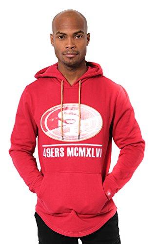Icer Brands NFL Herren Fleece-Pullover Hoodie Sweatshirt Gesticktes Team-Logo, SAN Francisco 49ers L/S Pullover Applique Hoodie, rot