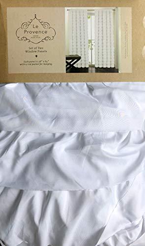 Le Provence Vorhang mit Rüschen, einfarbig, Weiß, 2 Stück, 96,5 x 213,4 cm - Ruffled Zwei Stück