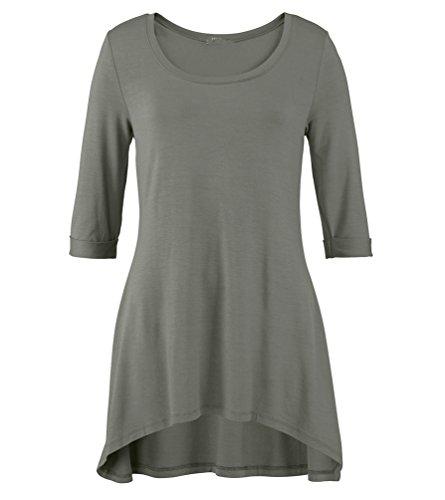 WanYang Donna Felpe Camicie Casual Top Manica Lunga Camicia Moda Casual Camicetta Slim Fit T-shirt Grigio