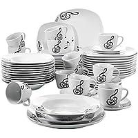 VEWEET 'Melody' Vajilla de Porcelana 60 Piezas,vajilla Completa 12 Tazas de café 175ml, 12 platillos,12 Platos de Postre, 12 Platos Llanos y Platos hondos vajilla para 12 Personas