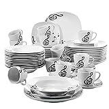 VEWEET Tafelservice 'Melody' aus Porzellan 60 teilig | Kombiservice beinhatlet Kaffeetassen 175 ml, Untertasse, Dessertteller, Speiseteller und Suppenteller | für 12 Personen