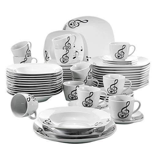 Veweet MELODY 60pcs Service de Table Porcelaine 12pcs Assiette Plate, Assiette à Dessert, Assiette Creuse, Tasse avec Soucoupes pour 12 Personnes Vaisselles Assiettes Design Moderne Blanc Ivoire