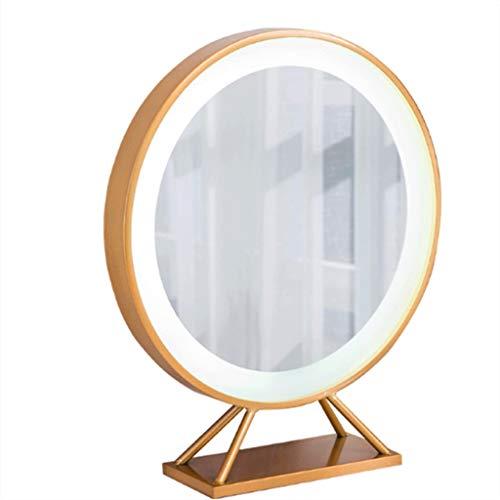 Espejo Maquillaje con Luz Redondo Diámetro 60 Cm Borde Metal Dorado Moderno Simple...