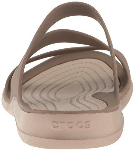 Sandali Crocs per donna in gomma nera e bianca Walnut