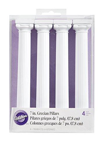 Wilton, 0262344, Confezione 4 Colonne Greche per la Separazione di Torte a Strati, 18 Cm, Plastica, Bianco